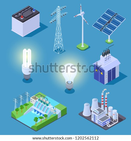 Electric power isometric icons. Energy generator, solar panels and thermal power plant, hydropower station. Electrical vector symbols. Illustration isometric solar panel, power generator and turbine