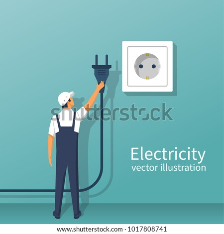 Electric power plug holding in hand. Unplug, plugged in wall socket. Vector illustration flat design.Connecting power plug. Vector flat design. Isolated on white background. Professional electrician.
