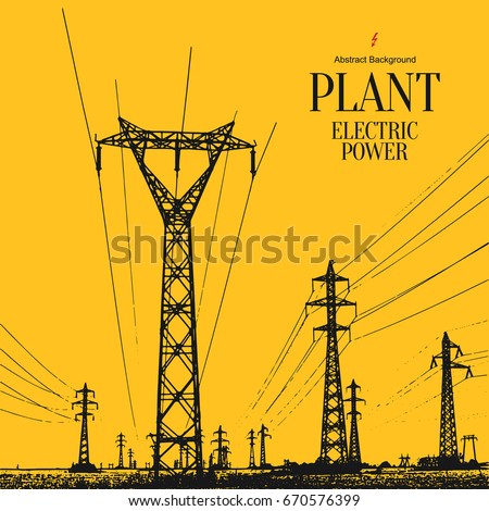Electric power station. Abstract sketch stylized background