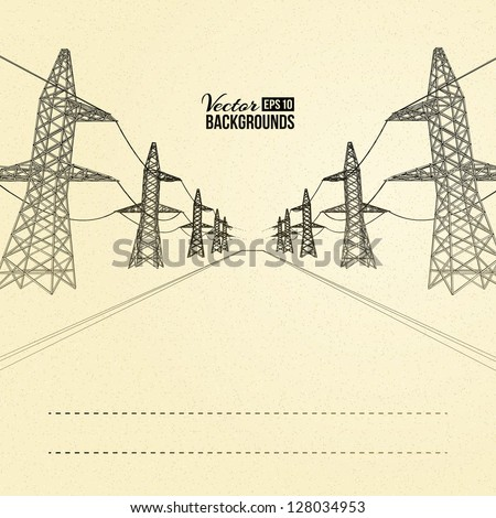 electric pylons in perspective. ...