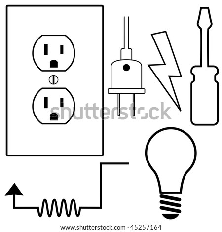 Electric Repair and installation Symbol Icons Set for Electrical Contractor or Electrician.