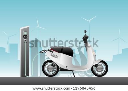 Electric scooter for sharing with charging station. Vector illustration EPS 10