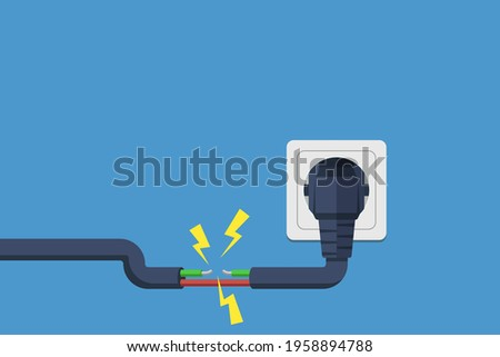 electric short circuit.  Faulty damaged cable. Fire from overload. Electrical safety concept. Vector illustration flat design. Short circuit electrical circuit. Broken electrical connection.