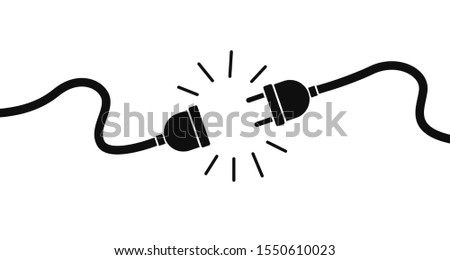 Electric socket with a plug. Connection and disconnection concept. Concept of 404 error connection. Electric plug and outlet socket unplugged. Wire, cable of energy disconnect – stock vector. EPS 10 Сток-фото ©