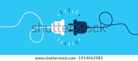 Electric socket with a plug. Connection and disconnection concept. Concept of 404 error connection. Electric plug and outlet socket unplugged. Wire, cable of energy disconnect Foto stock ©