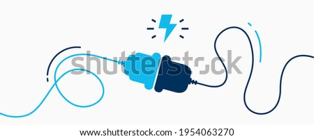 Electric socket with a plug. Connection and disconnection concept. Concept of 404 error connection. Electric plug and outlet socket unplugged. Wire, cable of energy disconnect