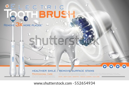 electric sonic toothbrush ad, white brush contacts tooth and makes it clean, 3d illustration