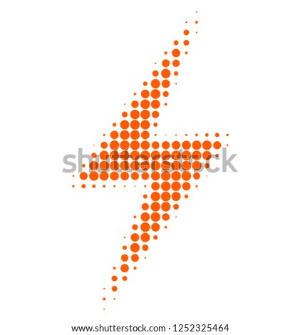 Electric strike halftone dotted icon. Halftone pattern contains round dots. Vector illustration of electric strike icon on a white background.