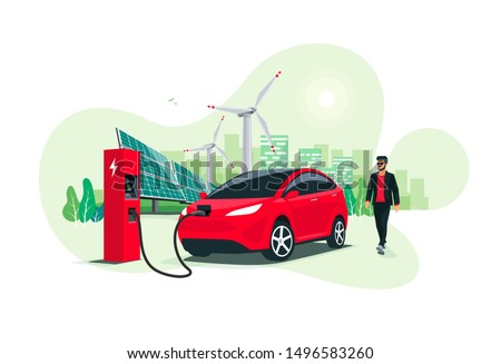 Electric suv car charging at the charger station with a young man approaching. Renewable energy wind turbines and solar panels smart city skyline in background. Isolated vector illustration concept.