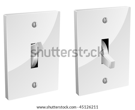 Electric switch in on and off mode isolated on white background.