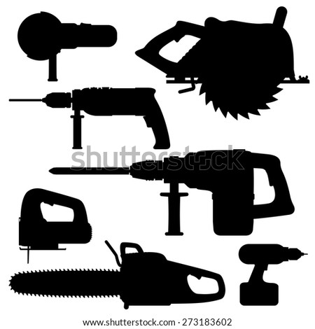 electric tools isolated icons
