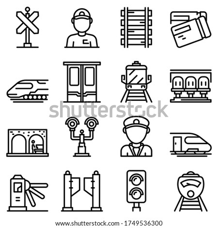 electric train driver icons set