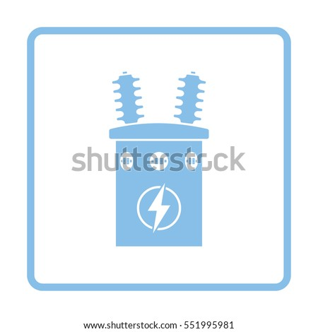 electric transformer icon blue