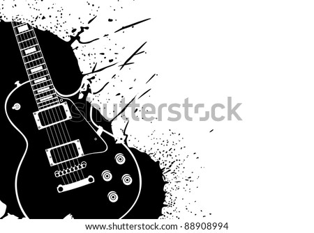 Electric vector guitar on white background