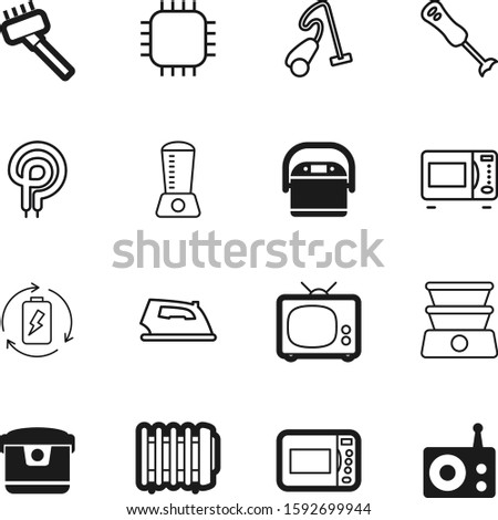 electric vector icon set such as: heater, semiconductor, diet, lithium, micro, purity, old, show, ironing, network, music, iron, long, steel, charge, cleanup, electronics, recycle, cloth, sound Stock photo ©