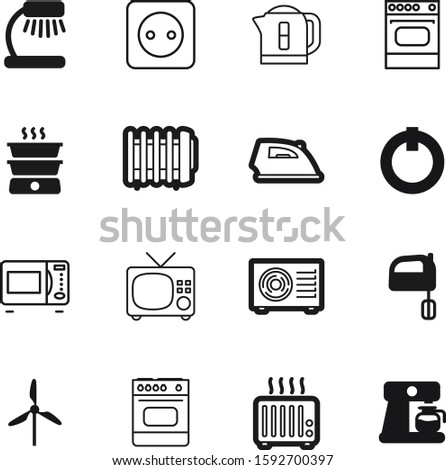 electric vector icon set such as: pot, climate, work, maker, bake, condition, website, turbine, cooker, dinner, kettle, abstract, preparation, screen, socket, cuisine, decoration, conditioning, lamp