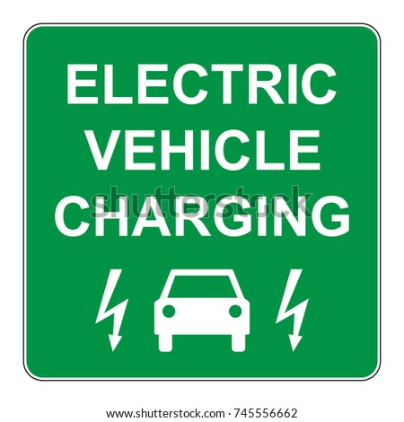 Electric vehicle charging point, green sign with car and electricity symbol, vector illustration.