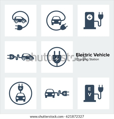 Electric Vehicle Charging Station Icons Set #621872327