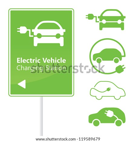Electric Vehicle Charging Station road sign template with set of icons #119589679