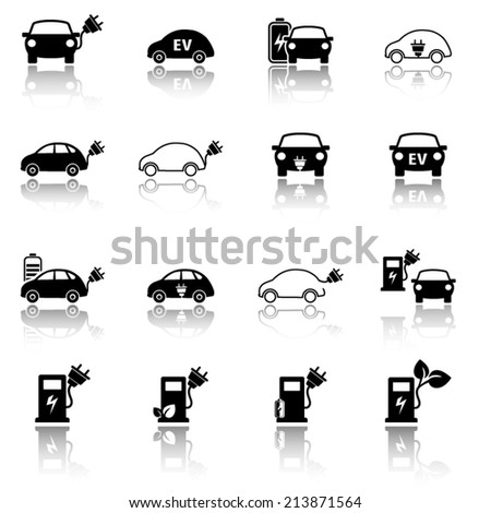 Electric vehicle icon set