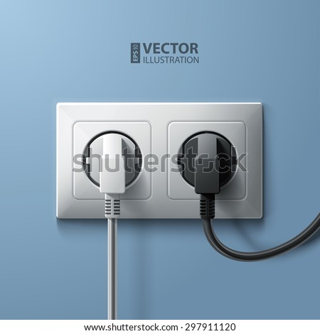 Electric white and black plugs and white plastic socket on blue wall background. RGB EPS 10 vector illustration