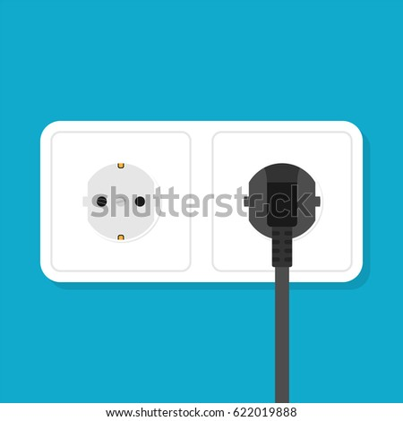 Electric white socket and black plug. Flat style