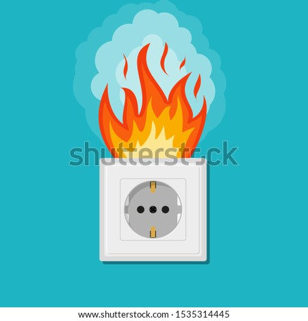 Electric wiring of socket in fire. Electrical safety concept. Plug outlet on fire. Electrical shock power. Short circuit in flat, cartoon style. Overload electrical connection. vector illustration