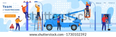 Electric workers, electricity on power line repairman webpage template vector illustration. Electrician profession and power repair equipment of wires in socket or street light switcher and ladder.