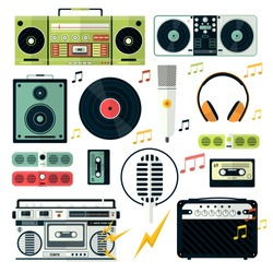 Electrical audio devices, analog broadcast and music record player isolated icons vector. Nostalgia musical equipment, microphone and headphones. Cassette tape and vinyl disc, radio and speaker