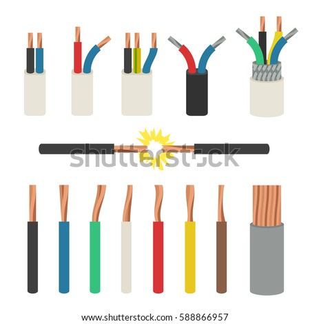 Electrical cables. Set with varieties of electric wire.