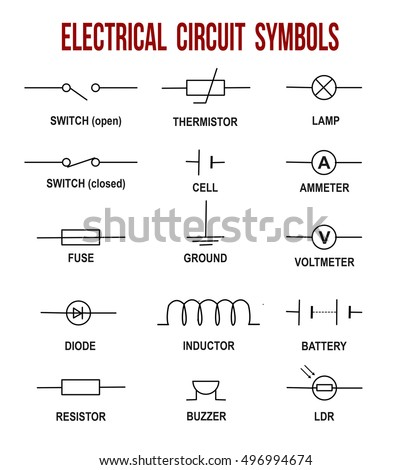 electrical circuit symbols on white background (helpful for basic education  & schools), vector