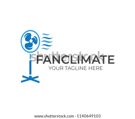 Electrical fan, ventilator, blower and blowhole with wave cool wind, logo design. Household appliance for home creating a microclimate, vector design and illustration