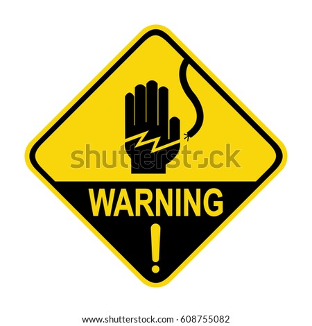 Electrical hazard warning sign, symbol, illustration