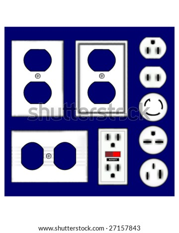 Electrical outlets and faceplates in shiny white plastic - vector set