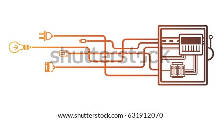 Electrical panel, switch with wires, electric meter in box on white background.