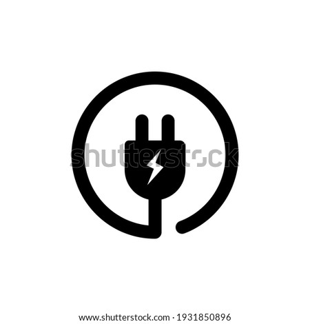 Electrical plug icon. Uk electric plug icon. Wire, cable of energy disconnect. Electrical plug logo. Vector EPS 10. Isolated on white background Foto stock ©