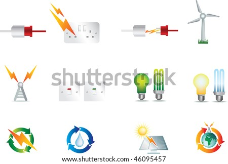 electrical power detailed icon set  collection of symbols