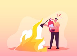 Electrical Safety Firefighter Fight with Blaze Concept. Male Character with Extinguisher Put Out Fire with Foam. Short Circuit, Overload Electrical Connection, Flame. Cartoon Vector Illustration