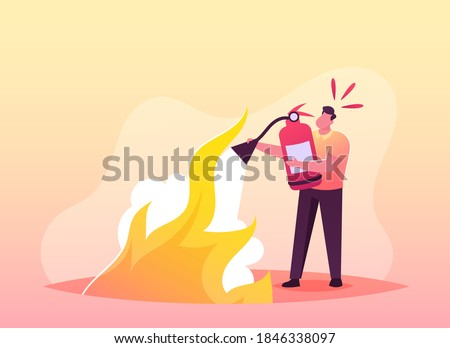 Electrical Safety Firefighter Fight with Blaze Concept. Male Character with Extinguisher Put Out Fire with Foam. Short Circuit, Overload Electrical Connection, Flame. Cartoon Vector Illustration Foto stock ©