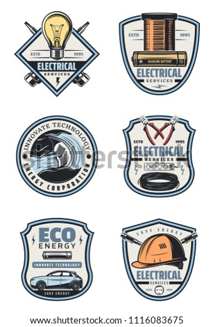 Electrical service and electricity supply badge with retro equipment. Energy cable, light bulb and pliers, plug, battery and screwdriver, hard hat, hydro power station and eco car vintage icon design