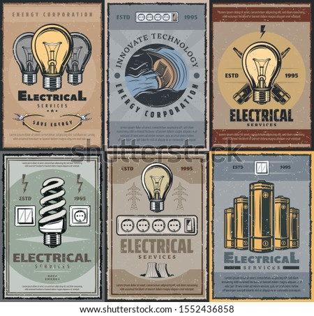 Electrical services and energy production industry. Retro vector electricity power generation, light bulb fluorescent lamps. Electric battery and switch, voltage tester, energetic corporations, pliers