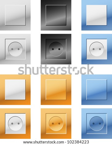 Electrical socket and switches. Vector illustration