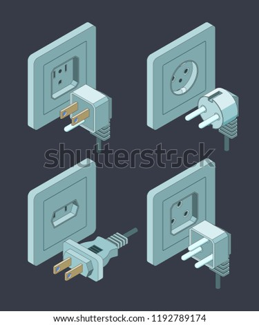 Electrical supplies type. Electric switch breaker home insulation energy plugs vector isometric pictures. Illustration of socket plug, connection electrical