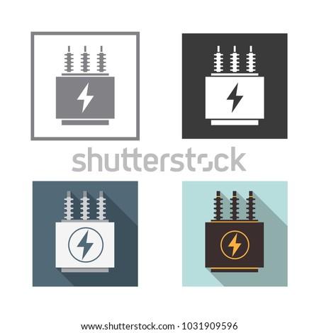Electrical transformer icons set. Vector illustration.