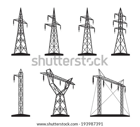 Electrical transmission tower types in perspective vector illustration