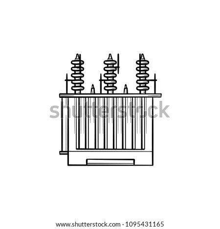 Electrical voltage transformer hand drawn outline doodle icon. Electricity distribution concept vector sketch illustration for print, web, mobile and infographics isolated on white background.