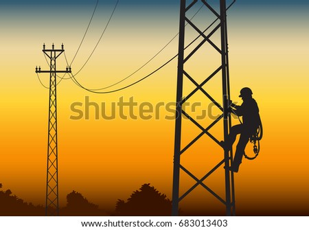 electrician climbing the tower