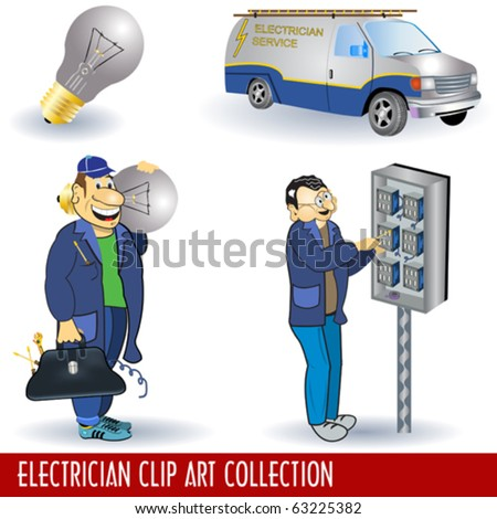Electrician clip art collection - stock vector