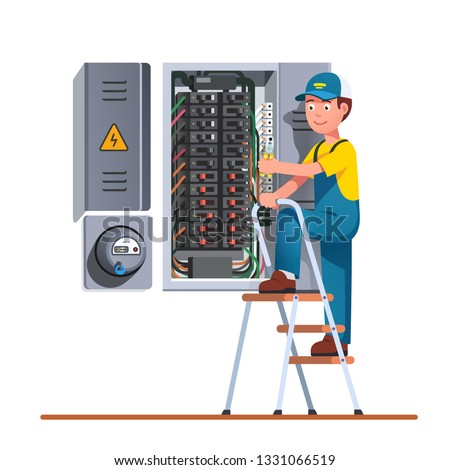 Electrician engineer man working with breaker & fuse box on ladder. Electrical service panel cabinet electric meter. Switch board wiring maintenance job. Flat vector technician character illustration