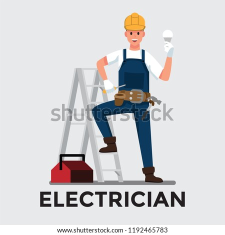 electrician man  ,Vector illustration cartoon character.
